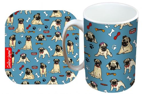 Selina-Jayne Pug Dog Limited Edition Designer Mug and Coaster Set
